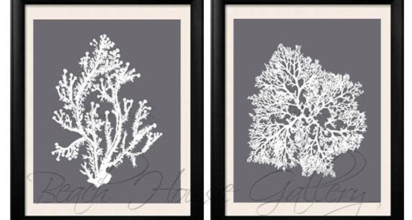 Gray Coral Wall Art Cool Grey Print White