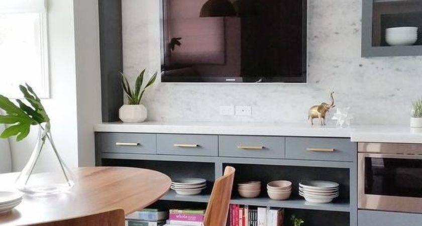 Gray Dining Room Cabinets Flat Panel