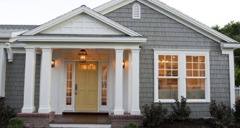 Gray House White Trim Colored Door Not Sure