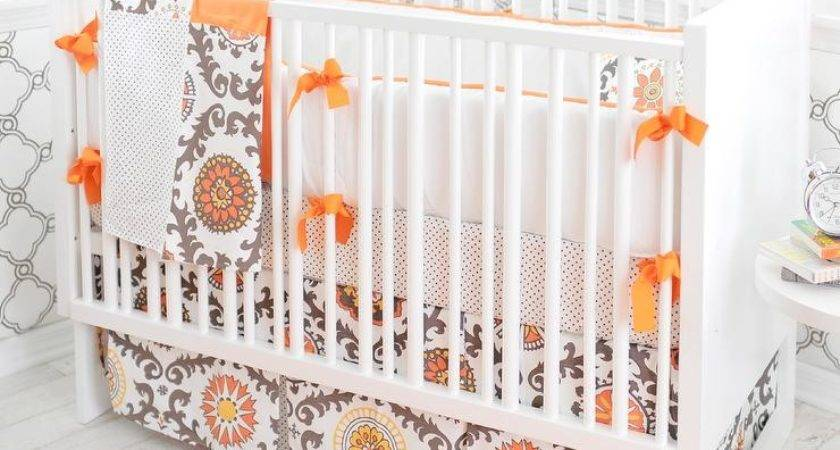 Gray Orange Contemporary Nursery Bedding