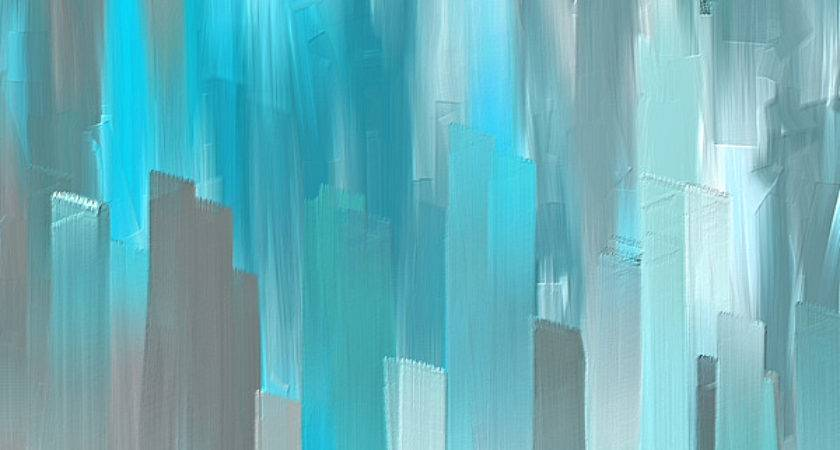Gray Teal Abstract Art Painting Lourry Legarde