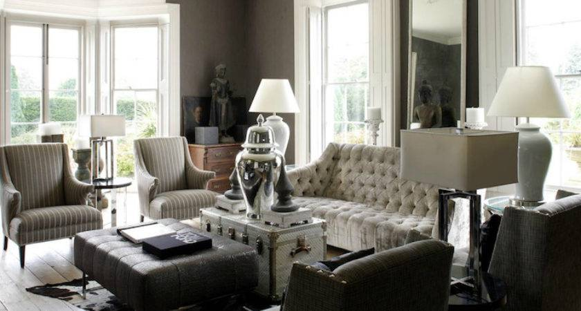 Gray Tufted Sofa Eclectic Living Room Option