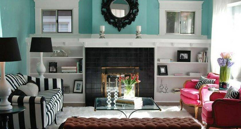 Gray Turquoise Living Room Pink