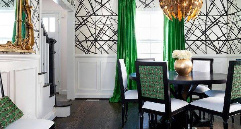 Green Black Dining Room Gold Feathers Chandelier
