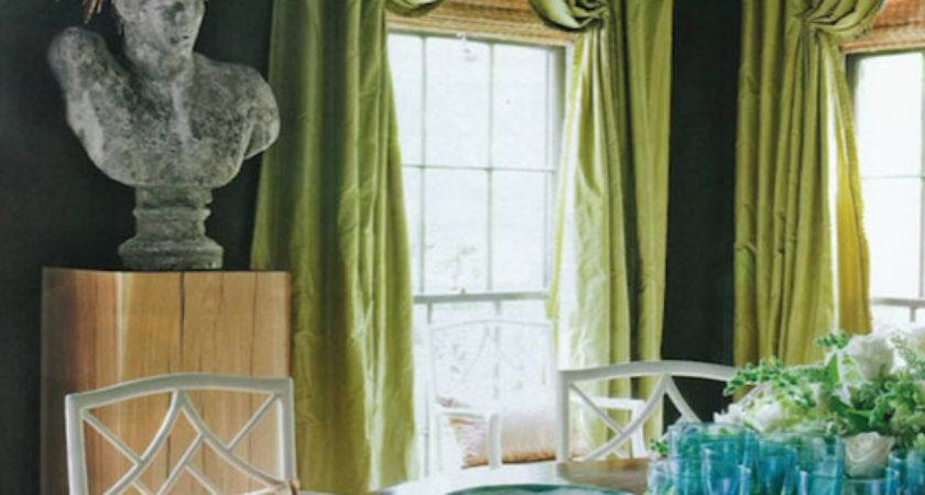 Green Curtains Eclectic Dining Room Higgins Interiors
