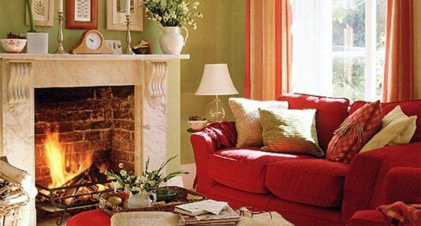 Green Living Room Red Sofa Stool Curtains