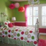 Green Pink Wall White Wooden Windows Frame Combined