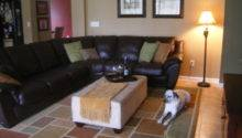 Green Walls Brown Couch Simple Home Decoration