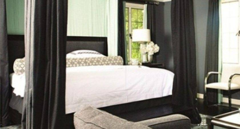 Grey Couch Black Canopy Bed Frame Glamorous