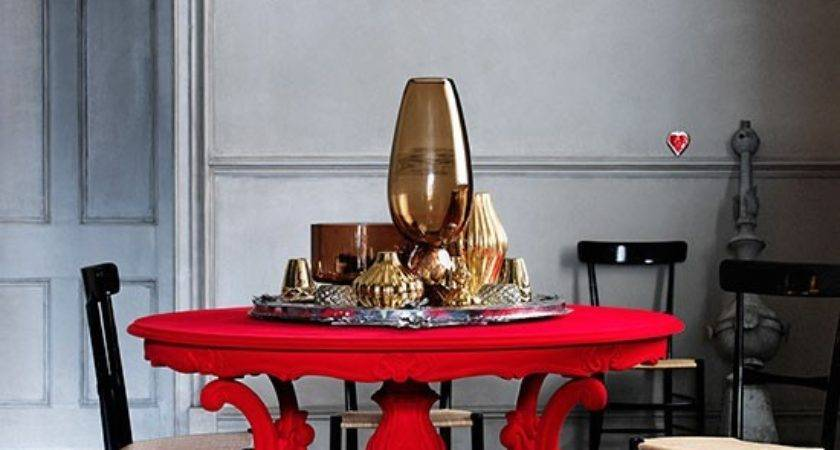Grey Dining Room Bold Red Table Decorating