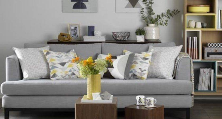 Grey Living Room Retro Textiles Shades Mustard