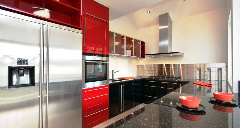 Grey Red Kitchen Designs Peenmedia