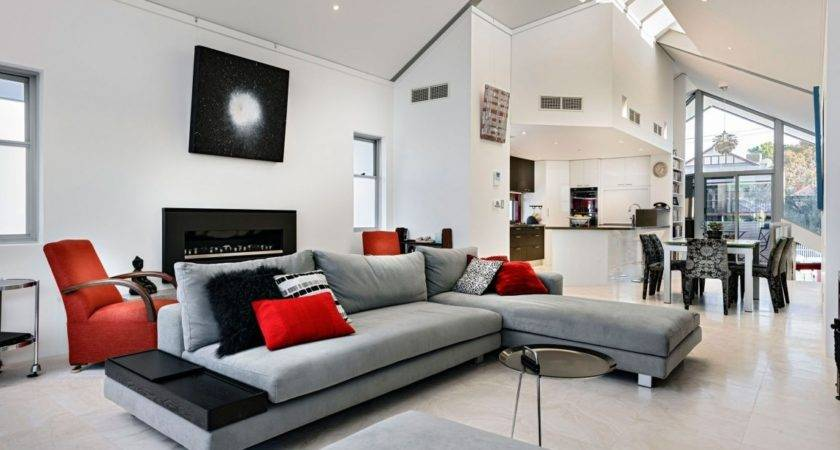 Grey Shaped Sectional Sofa White Interior Color