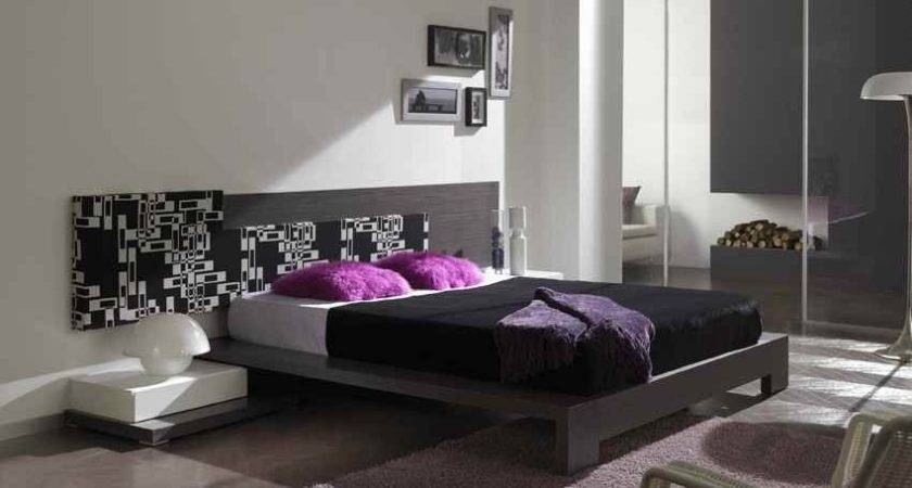 Grey White Bedroom Design Modern Purple