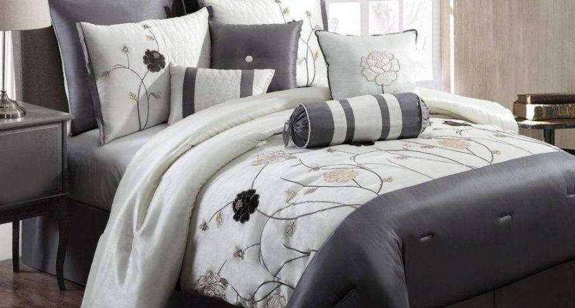 Grey White Comforter Set Snow Leopard