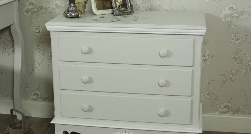 Grey White Drawer Chest Shabby Vintage Chic French
