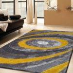 Grey Yellow Living Room Shaggy Area Rug Hand