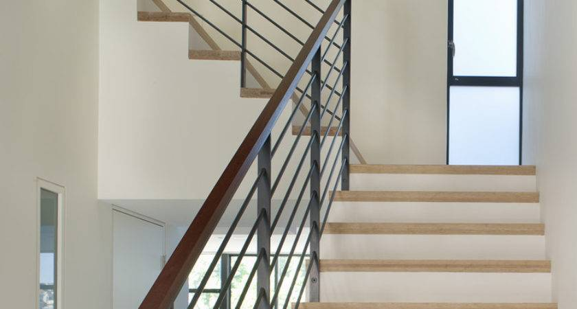 Handrails Staircase Modern Slatted Wood Marble Stair
