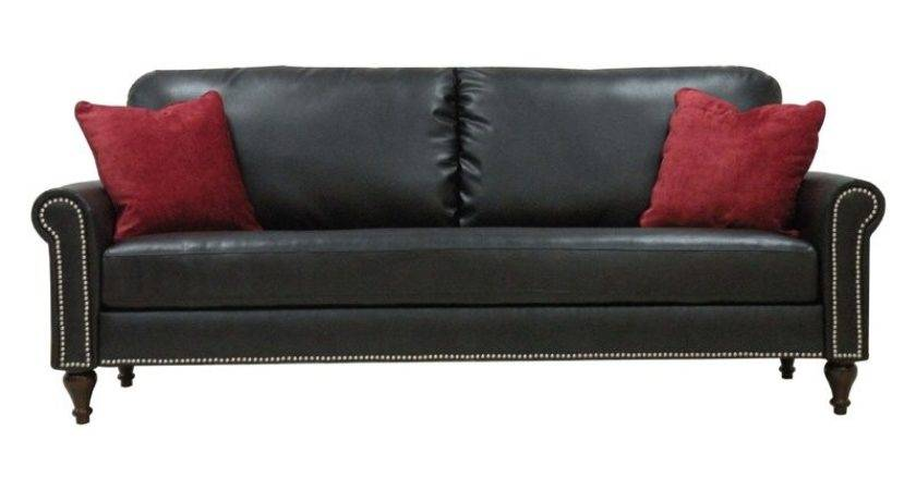 Handy Living Jefferson Black Leather Sofa Cherry