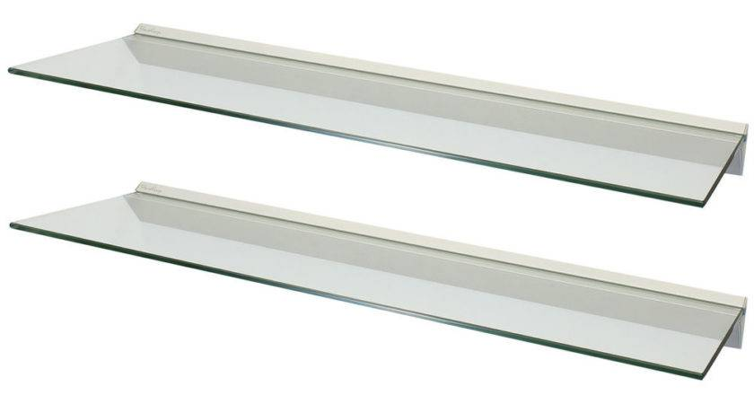 Hartleys Pair Clear Floating Glass Wall Shelves