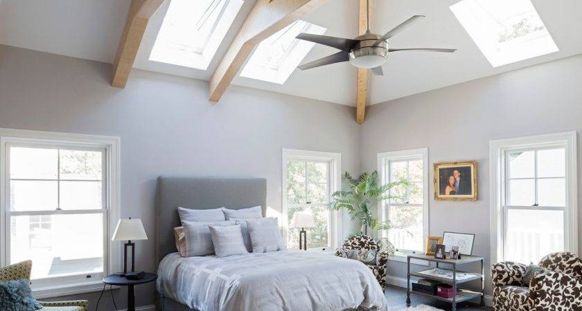 High Ceiling Bedroom Traditional Roof Window