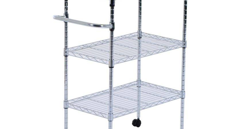 Homcom Rolling Trolley Kitchen Cart Wire Shelf