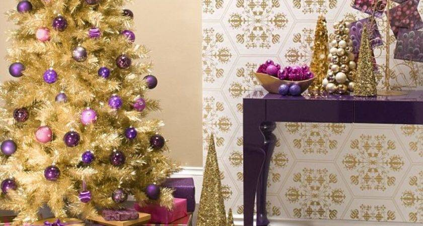 Home Christmas Decoration Theme Design Purple Gold