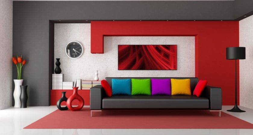 Home Design Living Room Red Accent Wall