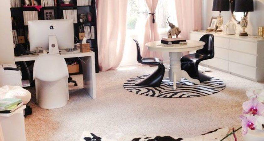 Home Office Sitting Area Black White Pink Gold
