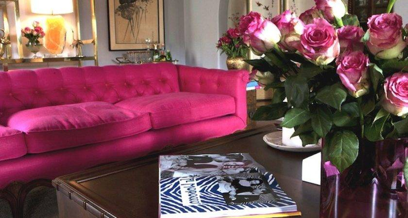Hot Pink Sofa Eclectic Living Room Emily Henderson