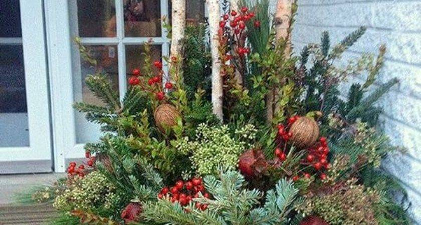 Ideas Decorating Outdoor Planters Christmas Home