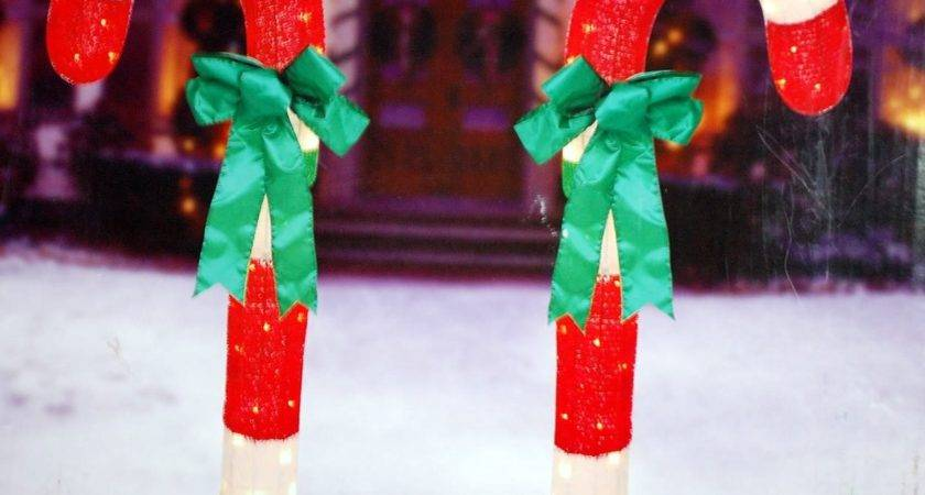 Inch Tinsel Candy Canes Bows Set Outdoor