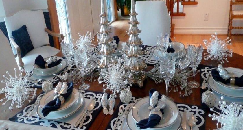 Informal Dining Room Furniture Silver Christmas Table