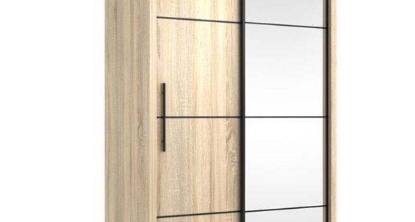 Inova Small Sliding Door Wardrobe Cupboard Oak Effect