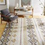 Intarsia Wool Rug Gray Yellow