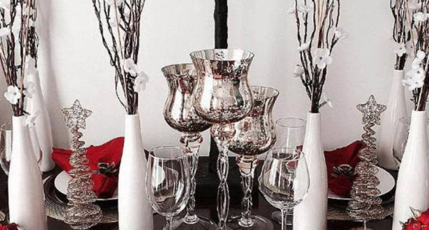 Interesting Red Silver Table Decorations