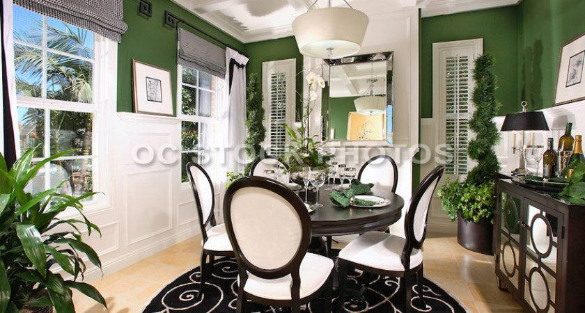 Interior Decorated Model Home Dining Room Wainscoting