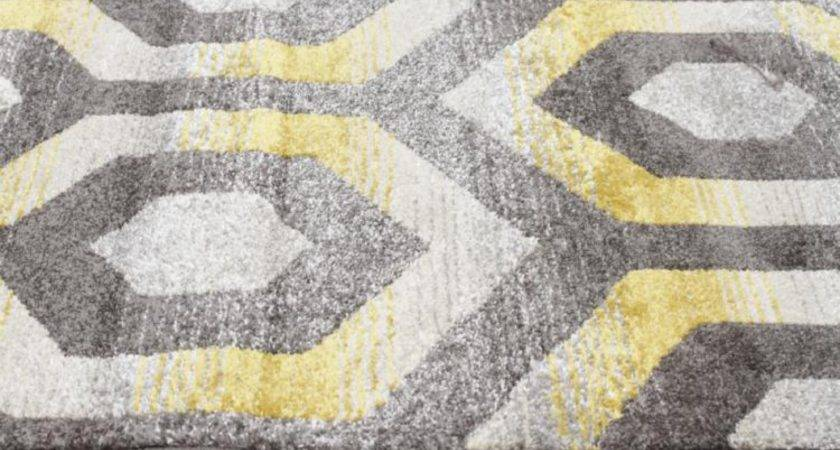 Irene Hive Modern Rug Yellow Grey Floor Rugs Shipping