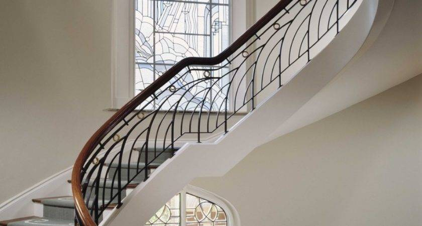 Iron Railing Designs Staircase Eclectic Curved