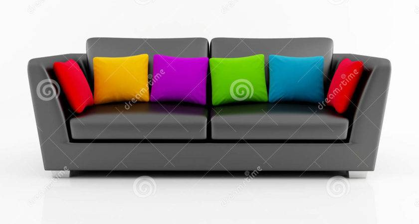 Isolated Black Couch Colored Pillow