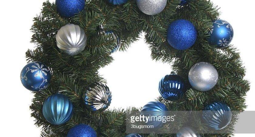 Isolated Christmas Wreath Silver Blue Ornaments