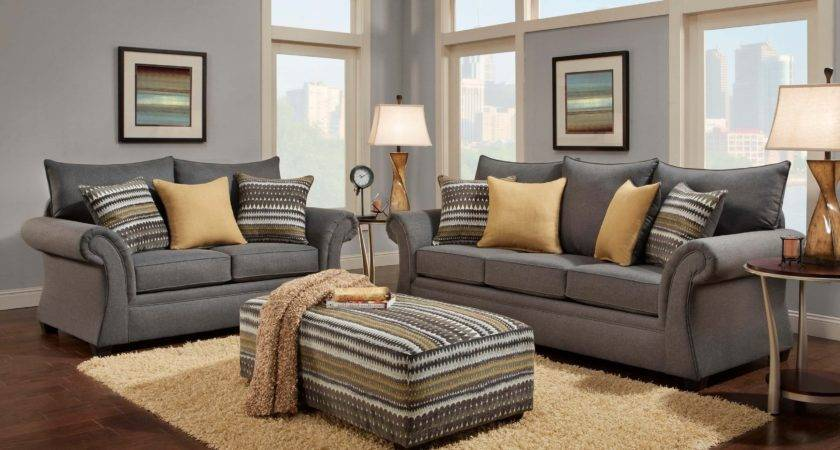 Jitterbug Gray Sofa Loveseat Fabric Living Room Sets