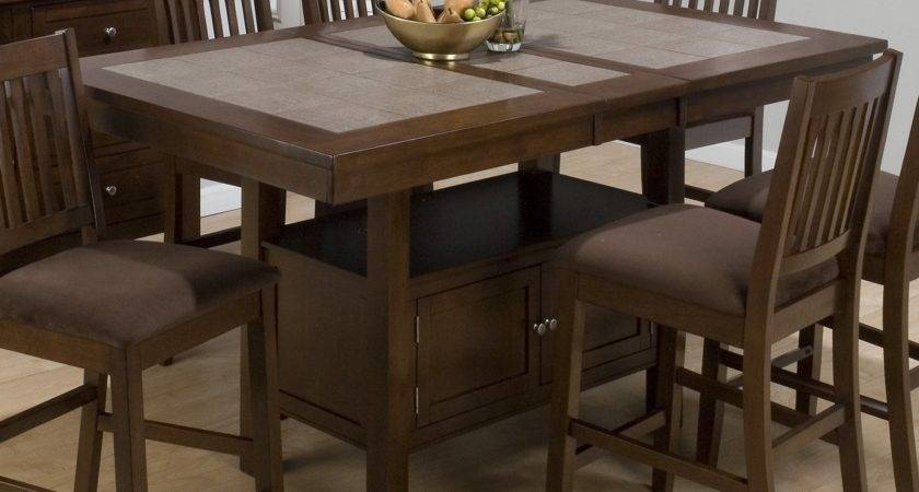 Jofran Trumbull Tile Top Counter Height Storage Dining