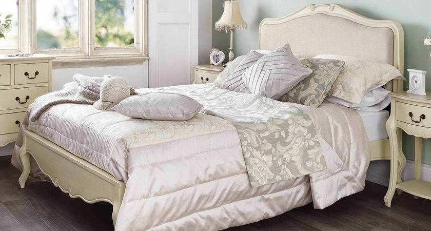 Juliette Shabby Chic Champagne Upholstered Double Bed