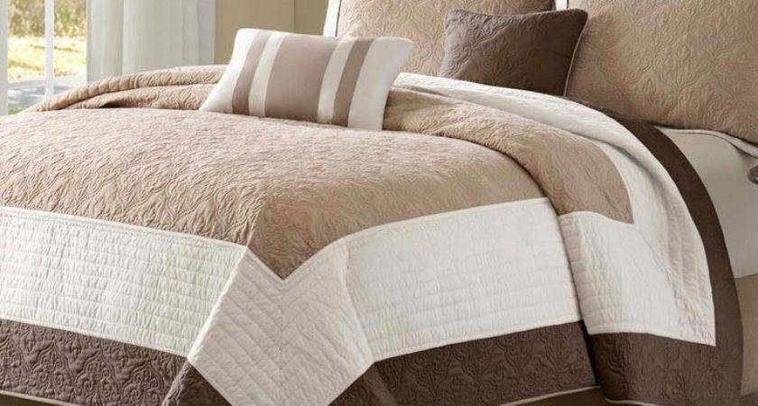 King Brown Ivory Tan Cream Piece Quilt Coverlet