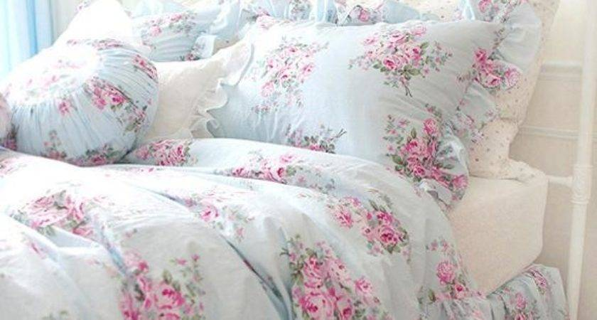 King Queen Twin Princess Shabby Floral Chic Blue