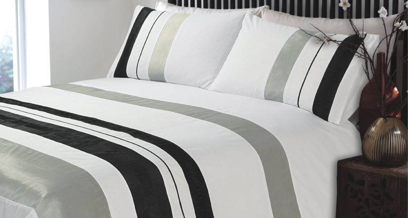 King Ripple Plain Stripe Grey White Duvet