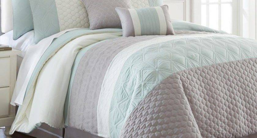 King Soft Blue Grey White Embroidered Quilted