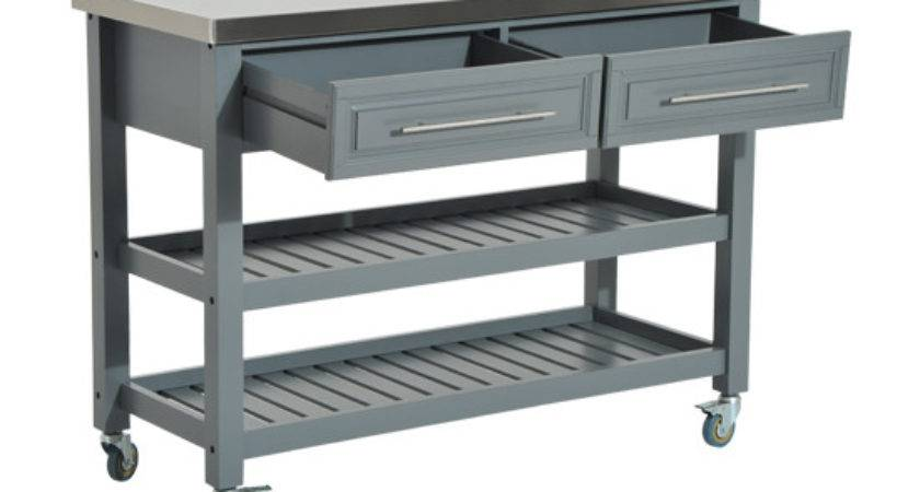 Kitchen Rolling Trolley Cart Storage Stainless Steel Top