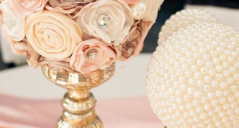Lace Pearls Themed Wedding Centerpieces